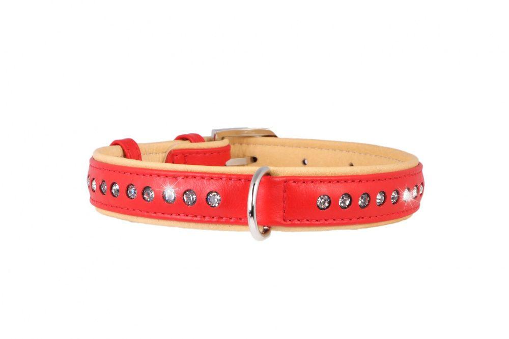 Ошейник для собак COLLAR Brilliance со стразами маленькими ширина 15мм длина 27-36см красный podium ошейник со стразами