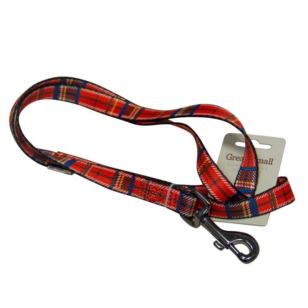 Поводок для собак Great&Small 20х1200мм красная шотландка поводок для собак great