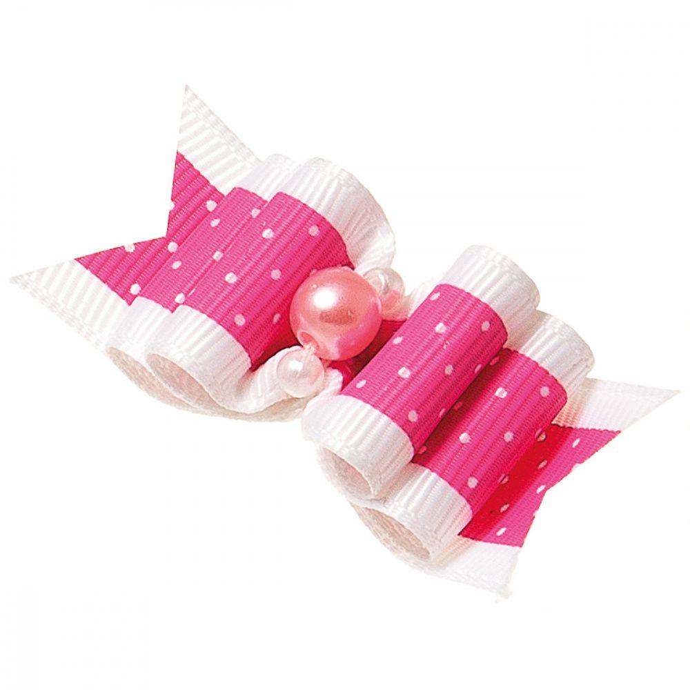 Бантик V.I.PET Ностальжи (пара) розовый в горошек, тройной объёмный 5,5х2,2см