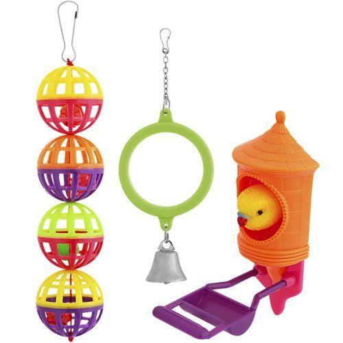 Игрушка для птиц PENN-PLAX ВА519 Набор: зеркало, птичка, шары