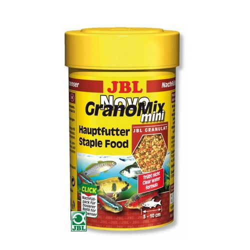 Корм для рыб JBL NovoGranoMix mini Refill Основной в форме смеси мини-гранул для мал. рыб,100мл корм для рыб jbl novogranocolor основной в форме гранул для яркой окраски рыб в банке 250мл 120г