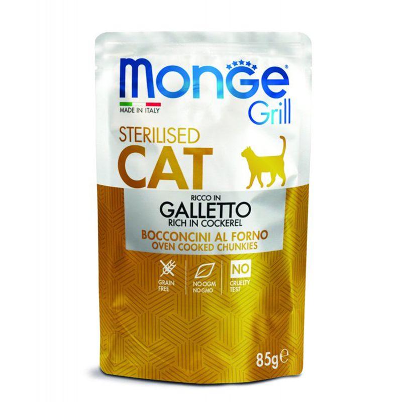 Корм для кошек Monge Cat Grill Pouch для стерилизованных кошек итальянская курица пауч 85г