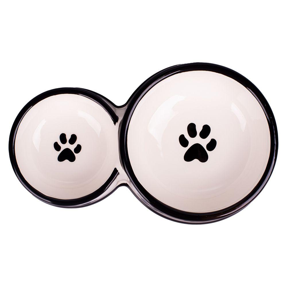 Миска для собак КерамикАрт двойная, белая с лапками 100мл и 220мл