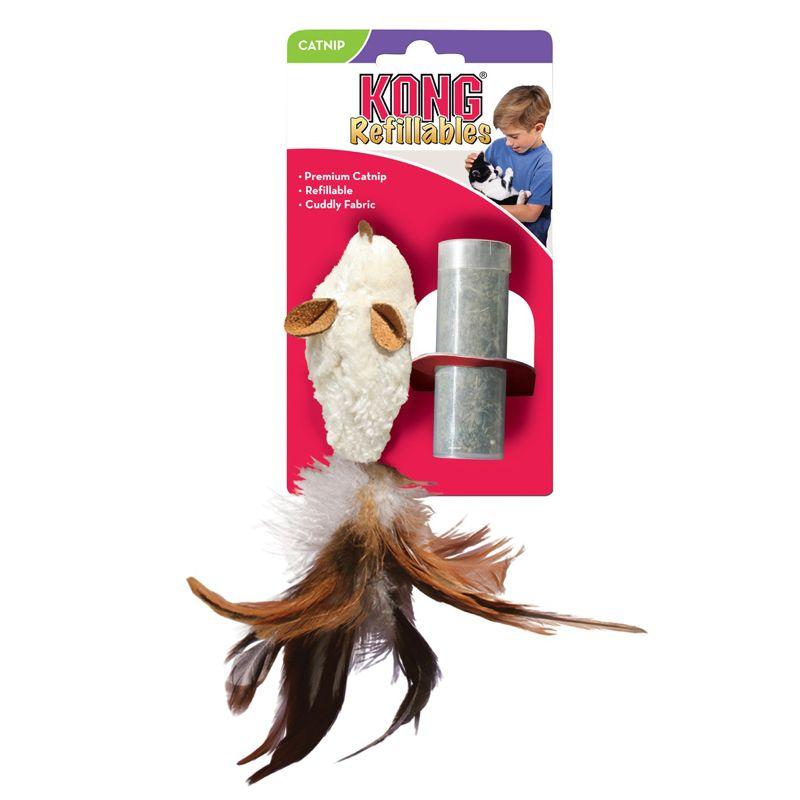 Игрушка для кошек KONG Мышь полевка с перьями плюш с тубом кошачьей мяты 15см