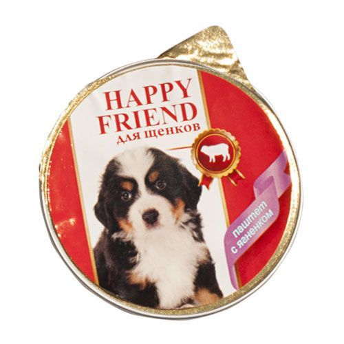 Корм для щенков HAPPY FRIEND Паштет с ягнёнком конс. 125г