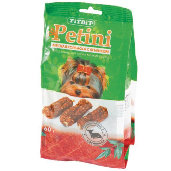 Лакомство для собак TITBIT Petini Колбаски с ягненком пакет 60г titbit titbit колбаски petini с телятиной лакомство для собак