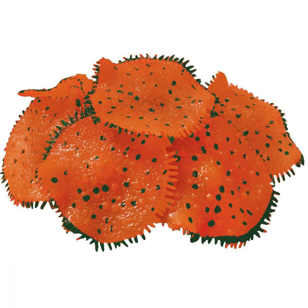 Декор для аквариумов JELLYFISH Коралл Ковровая Актиния светящийся оранжевый D=10см