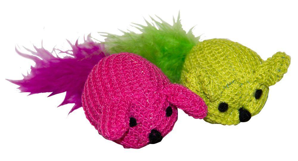 Игрушка для кошек CHOMPER Набор Мышки с пером (2 шт. уп) игрушка для кошек chomper набор мячики 3шт