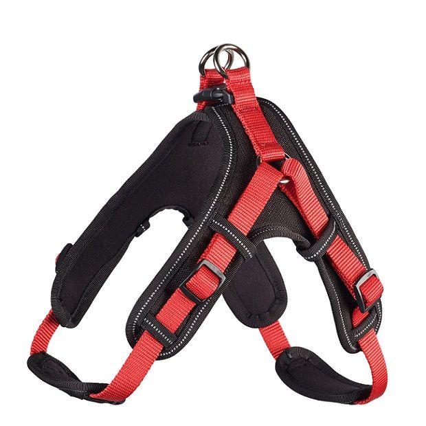 купить Шлейка для собак HUNTER Neopren Vario Quick XL (67-80)/2,5см нейлон/неопрен красный/черный дешево
