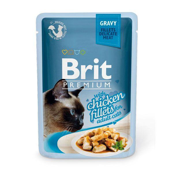 Корм для кошек Brit Premium Cat Gravy Кусочки из куриного филе в соусе пауч 85г