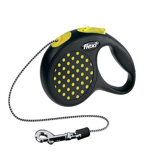 Рулетка для собак Flexi Design XS до 8кг, 3м трос черная/желтый горошек рулетка flexi new comfort xs трос 3м черный розовый для собак до 8кг
