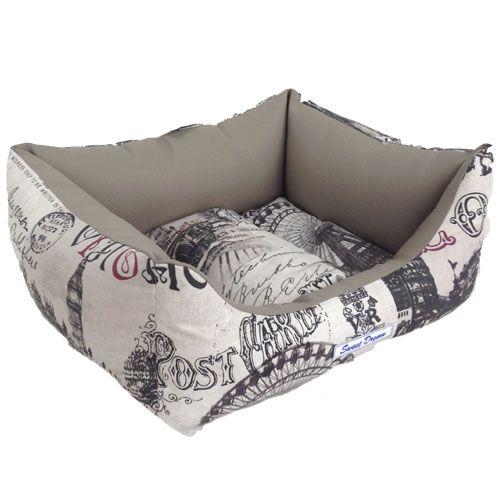 Лежак для животных БОБРОВЫЙ ДВОРИК Сладкий сон Прямоугольный №2 Лондон 63х52х18см цена и фото