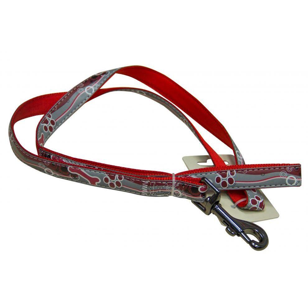 цена на Поводок для собак Great&Small светоотражающий 20х1200мм нейлон красный