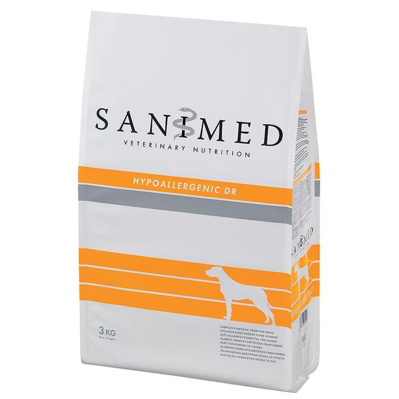 Корм для собак SANIMED dog Hypoallergic DR при пищевой аллергии, утка сух. 3кг корм для собак sanimed dog skin sensitive при пищевой аллергии сух 12 5кг