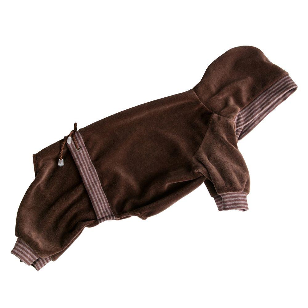 Комбинезон для собак YORIKI Велюр Коричневый унисекс размер XL 32см толстовка для собак fidget go dogbaby цвет черный белый унисекс размер xl