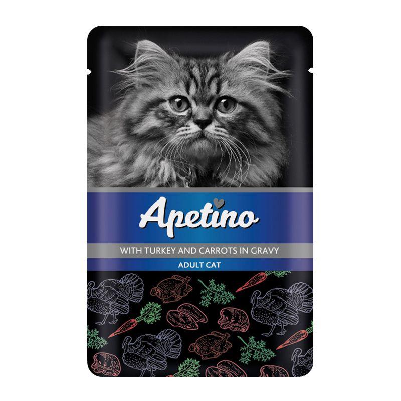 цена на Корм для кошек APETINO индейка, морковь в соусе пауч