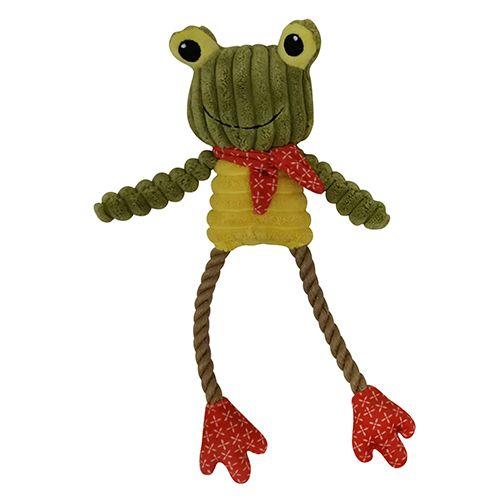 Игрушка для собак CHOMPER Mix and Match Лягушка с ногами из джута и пищалкой 30 см