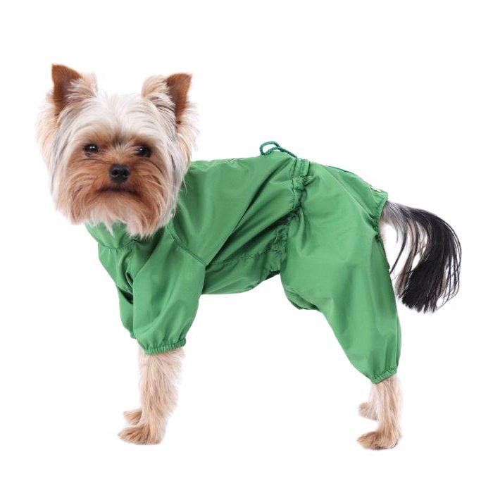 Дождевик для собак YORIKI зеленый мальчик размер М 24см цена и фото