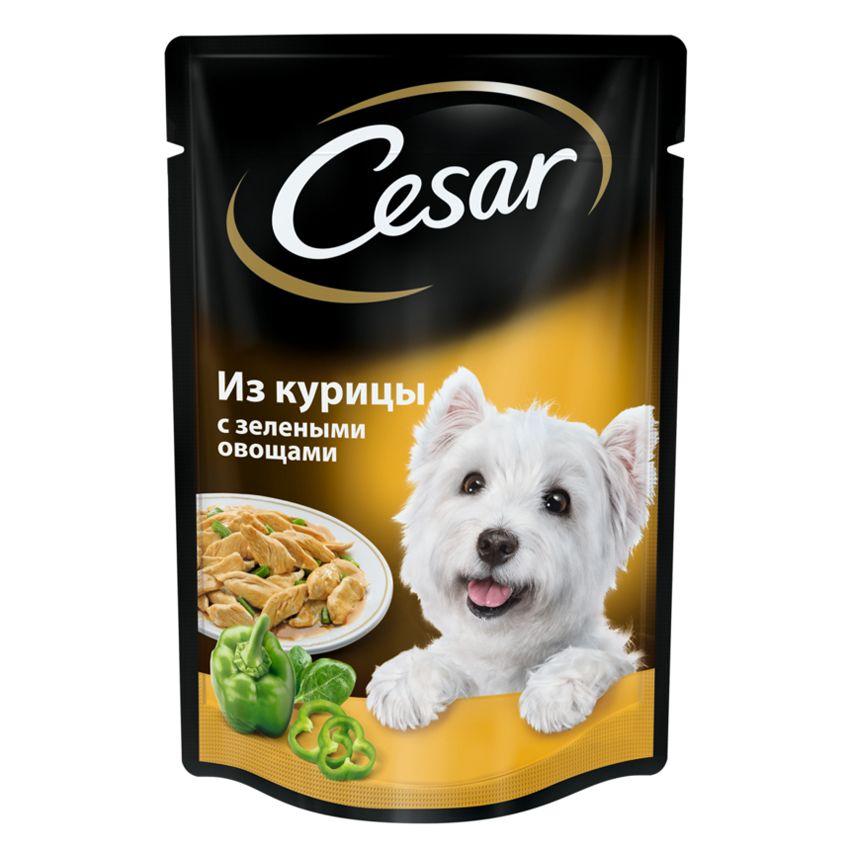 Фото - Корм для собак Cesar Курица с зелеными овощами конс. 100г cesar cesar корм паучи из курицы с зелеными овощами для взрослых собак 100 г