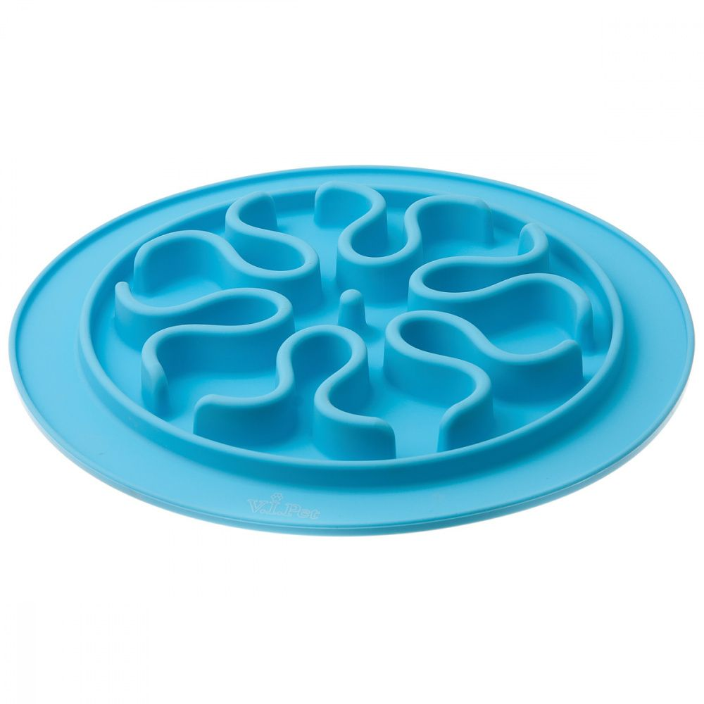 Миска V.I.PET силиконовая рельефная (волны) игровая для медленного поедания корма (голубая) 24см