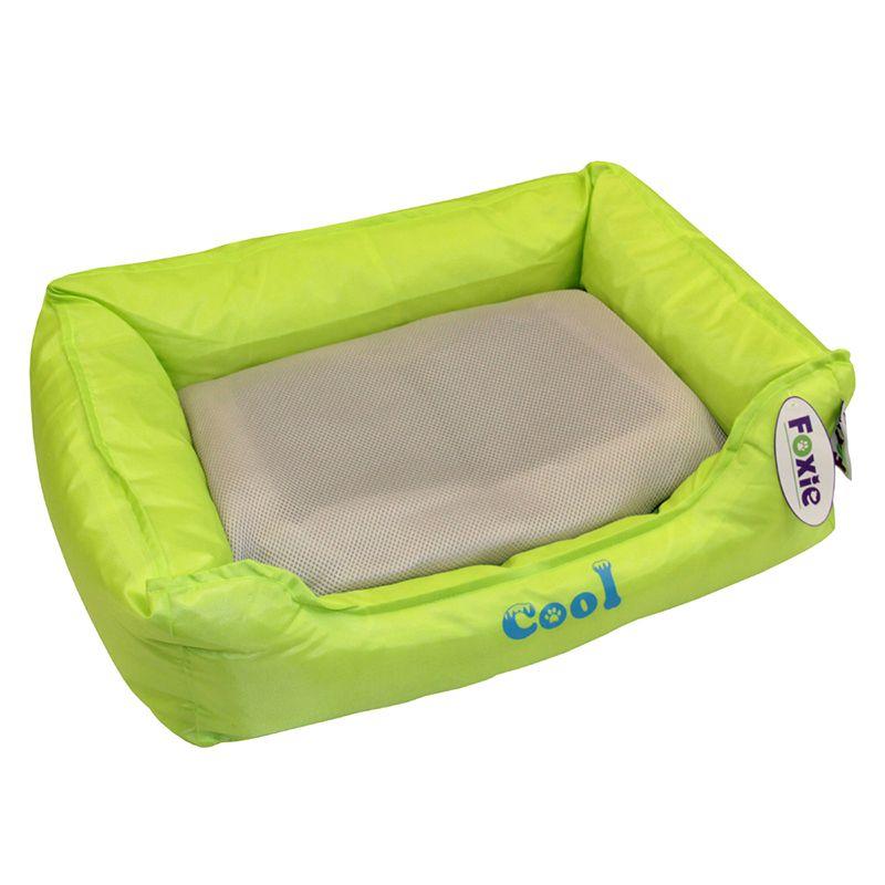 Лежак для животных Foxie Cooling с охлаждающим ковриком 61х48х18см зеленый