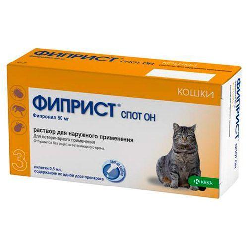 KRKA Фиприст Спот Он для кошек 50мг 3 пипетки недорого