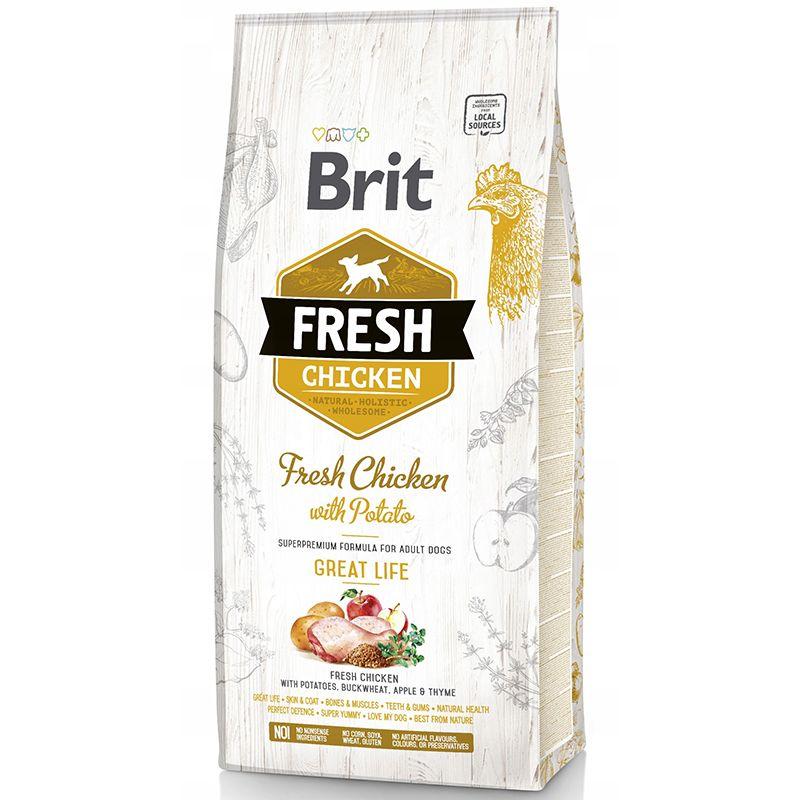 цена на Корм для собак Brit Fresh Курица с картофелем сух. 12кг
