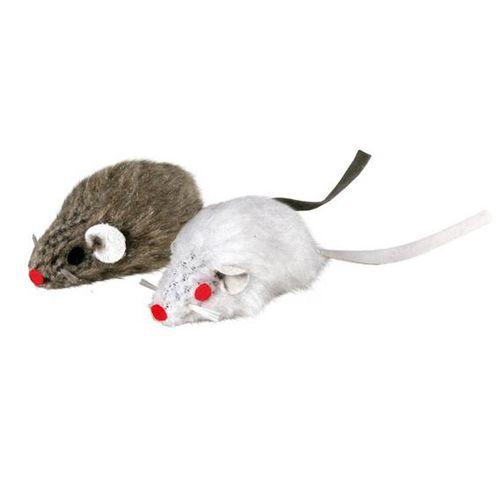 Игрушка для кошек TRIXIE Набор из 2-х мышей серая белая, 5см