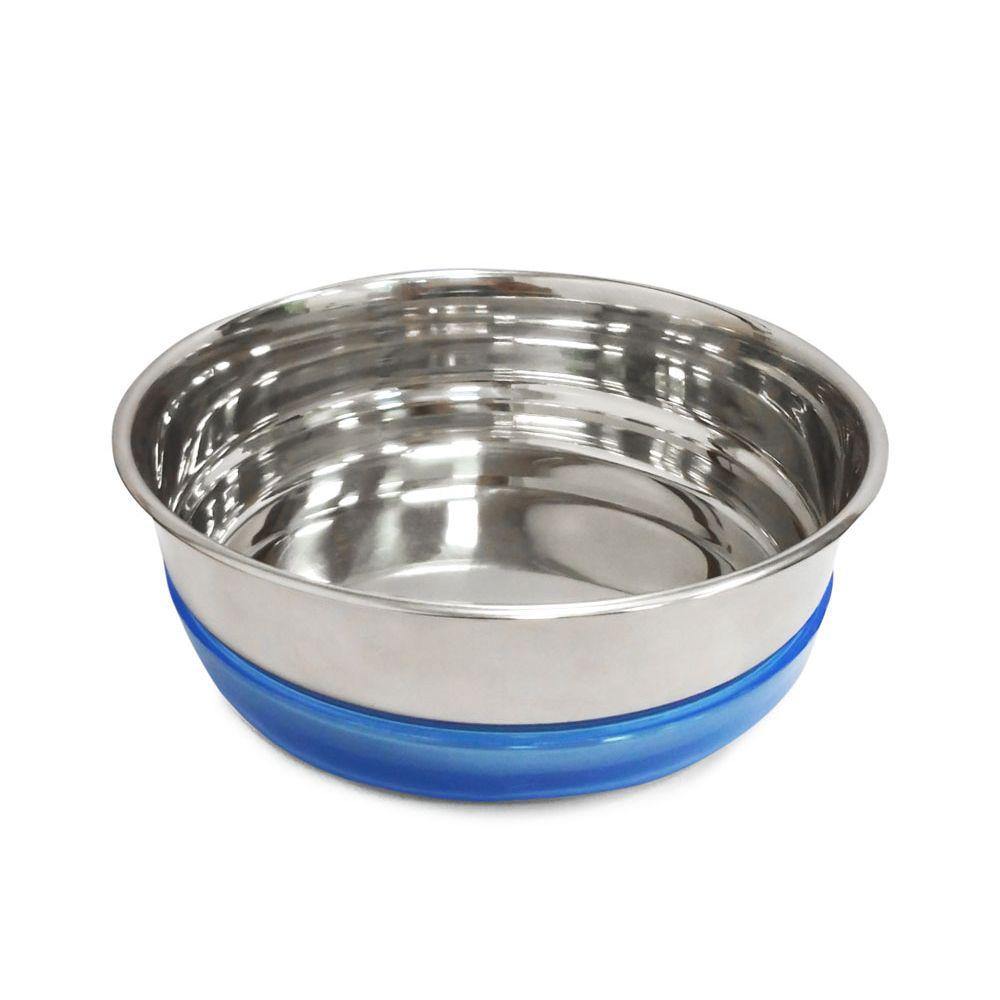 Миска для собак TRIOL металлическая с синей резинкой 300мл