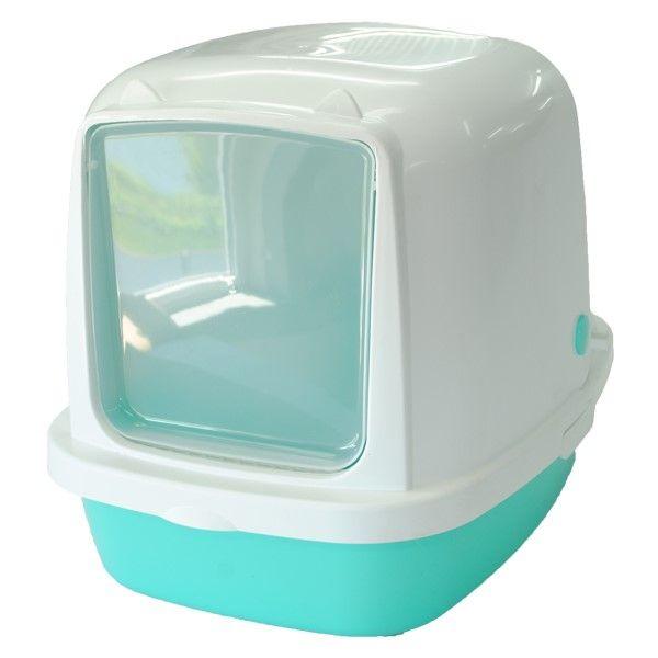 Туалет для кошек HOMECAT закрытый бирюзовый перламутр 53х39х48см