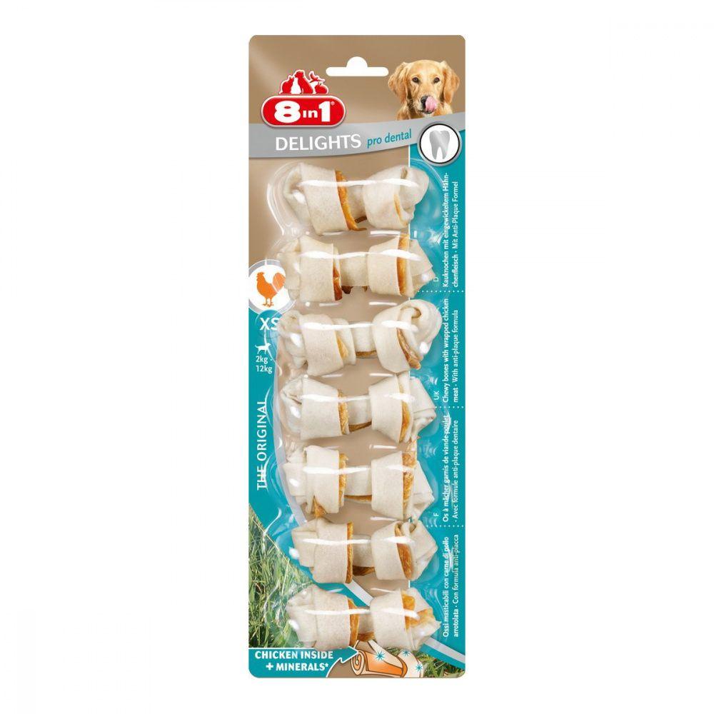 Лакомство для собак 8 in 1 DENTAL DELIGHTS XS Косточки для чистки зубов 7,5см (7шт.уп)