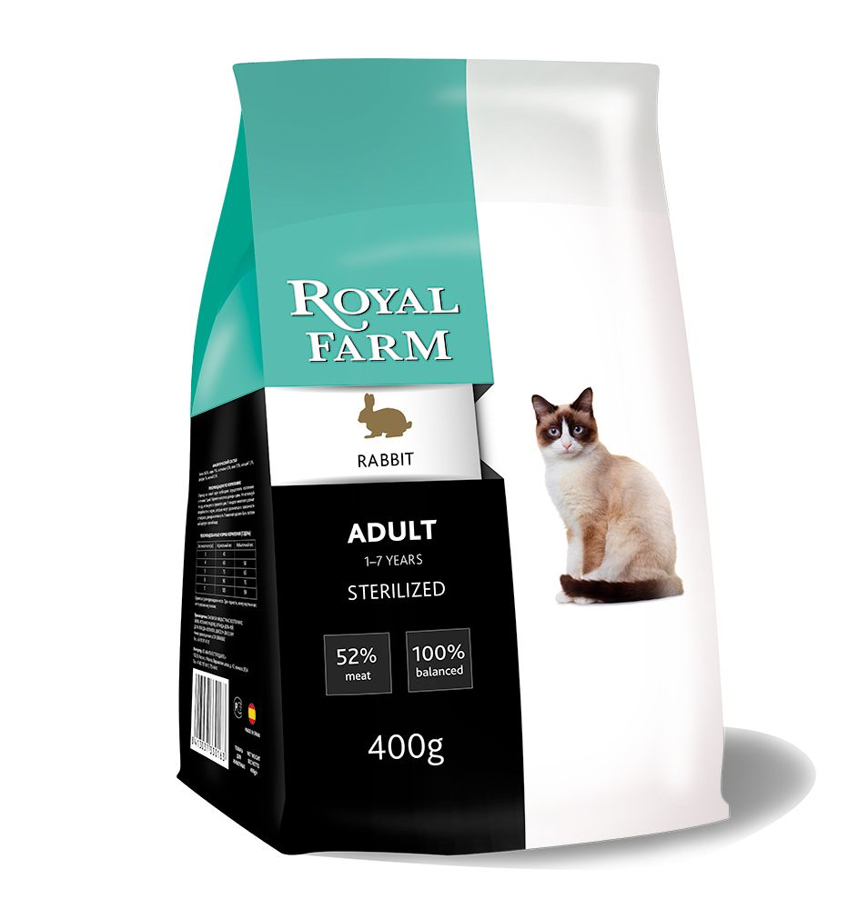 Корм для кошек ROYAL FARM для стерилизованных, кролик сух. 400г корм для кошек monge cat сух 400г