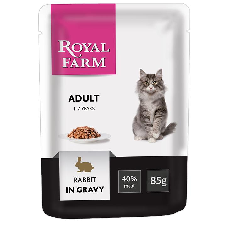 Корм для кошек ROYAL FARM кролик в соусе пауч 85г
