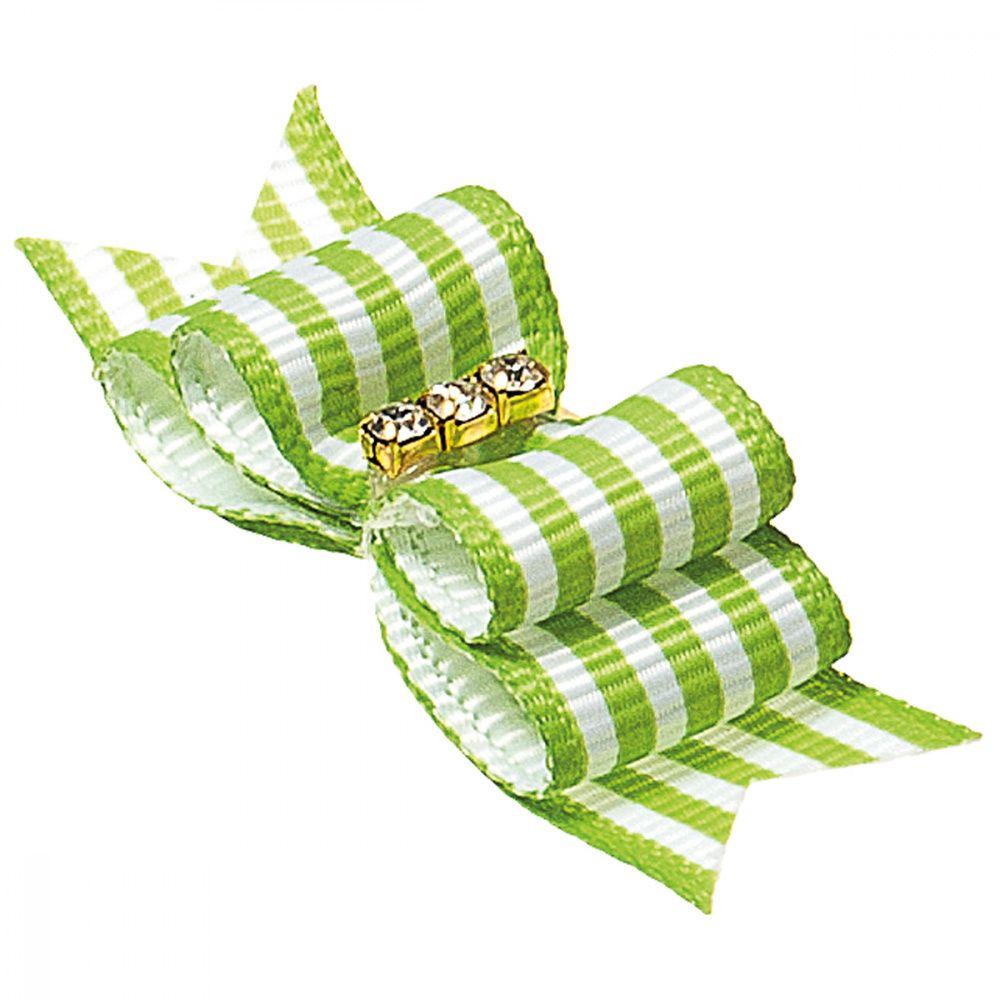 Бантик V.I.PET Ностальжи (пара) зеленый в полоску, тройной объёмный 4,5х1,5см