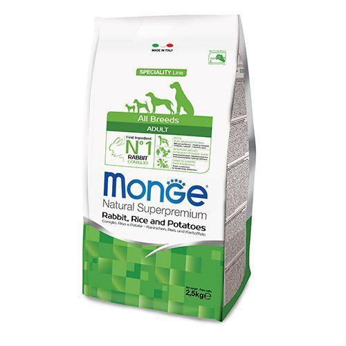 Корм для собак Monge Dog Speciality кролик с рисом и картофелем сух. 2,5кг все цены