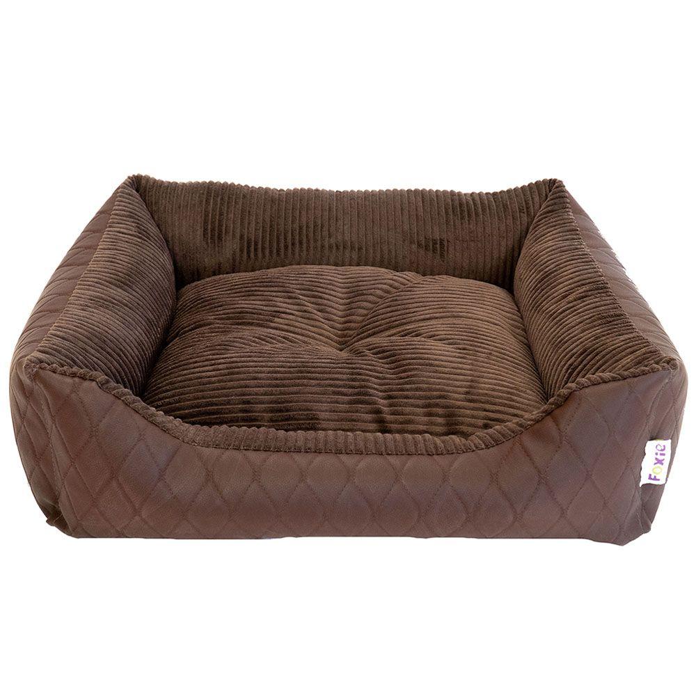 Лежак для животных Foxie Leather 60х50х18см коричневый недорого