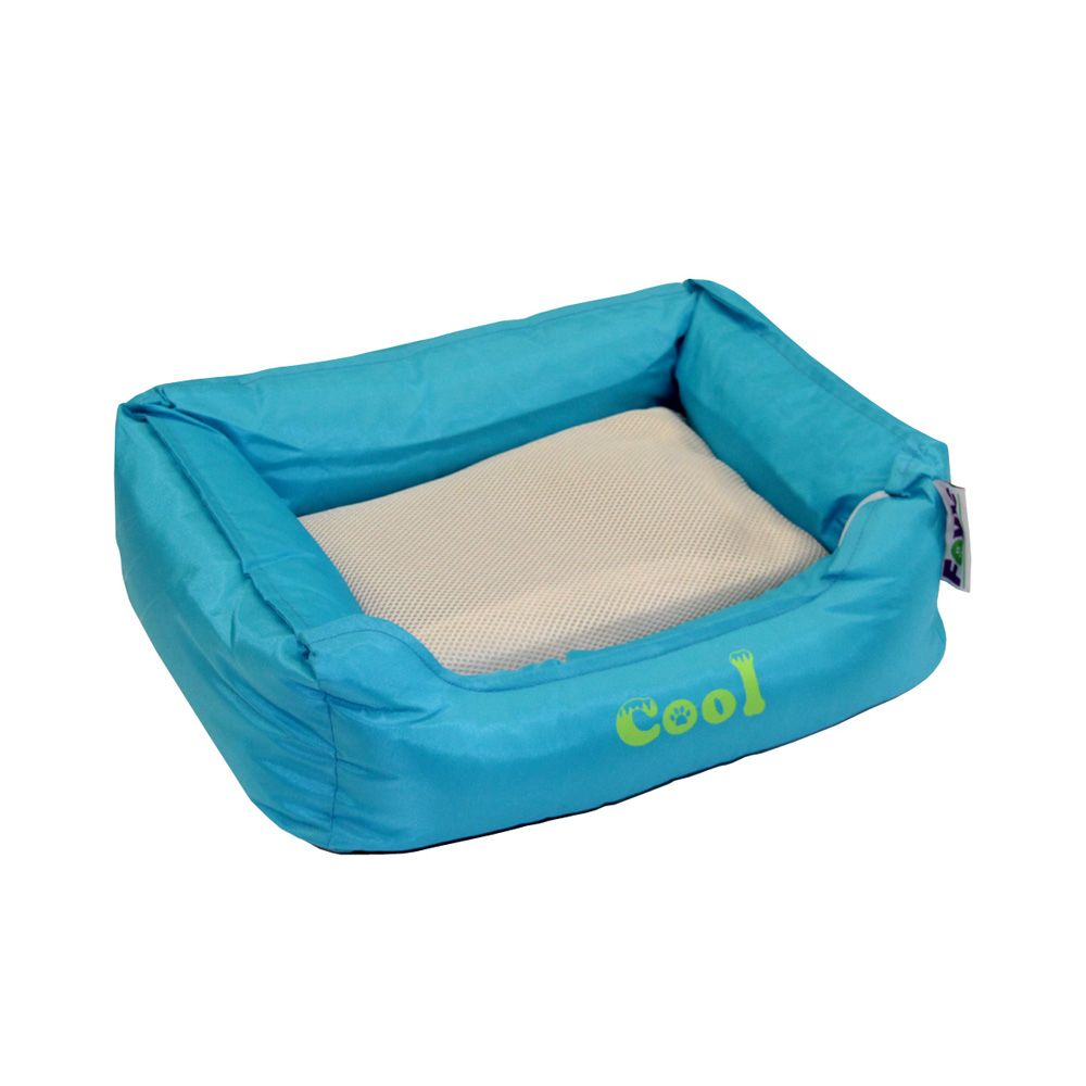 Лежак для животных Foxie Cooling с охлаждающим ковриком 47х37х17см голубой