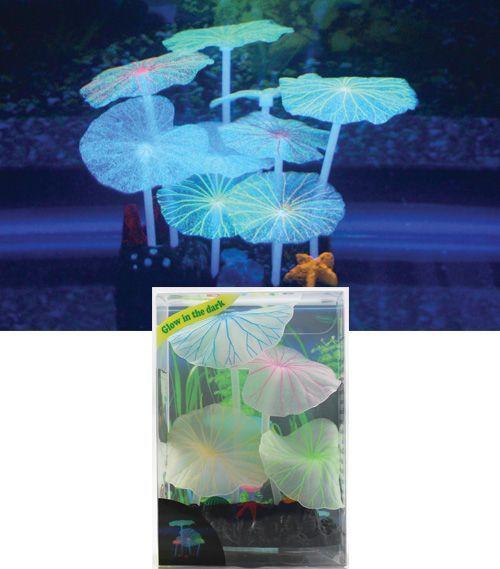Декор для аквариумов JELLYFISH Листья лотоса голубые силиконовые (4шт) 7х3,5х10см