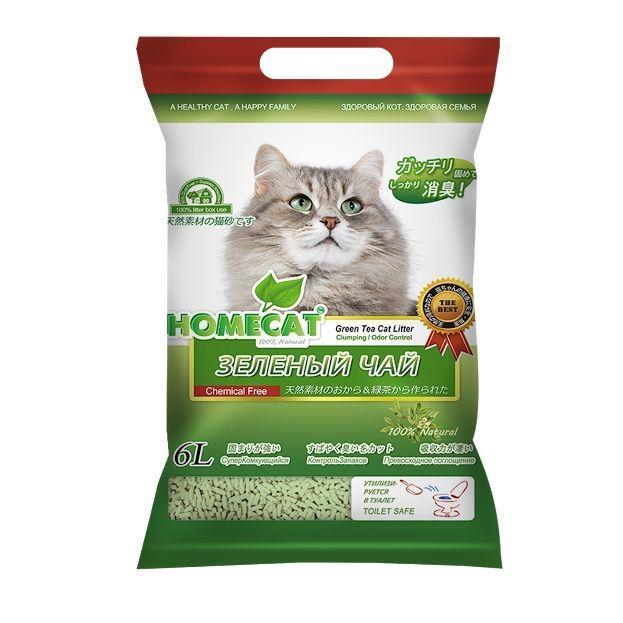 Наполнитель для кошачьего туалета HOMECAT Эколайн Зеленый чай комкующийся 6л наполнитель для кошачьего туалета neo loo life комкующийся на основе соевых бобов 6л