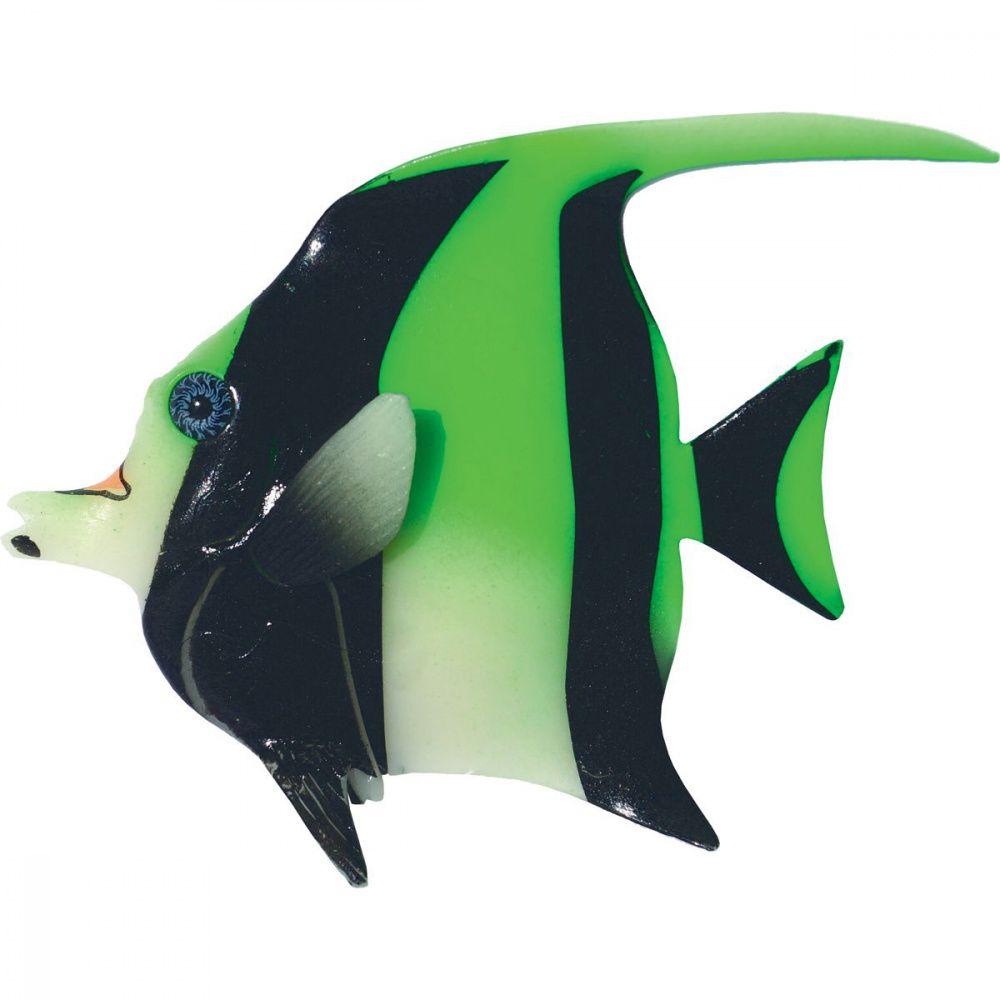 Декор для аквариумов JELLYFISH Мавританская Рыбка светящаяся зеленый 16х13х2,2см