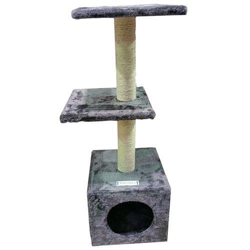 Когтеточка для кошек MAJOR домик 30x30x88см серый