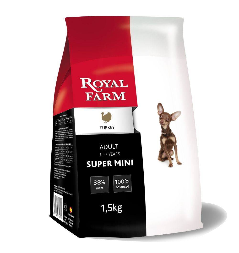 Корм для собак ROYAL FARM для супер мелких пород, индейка сух. 1,5кг корм для собак royal farm для супер мелких пород ягненок сух 500г