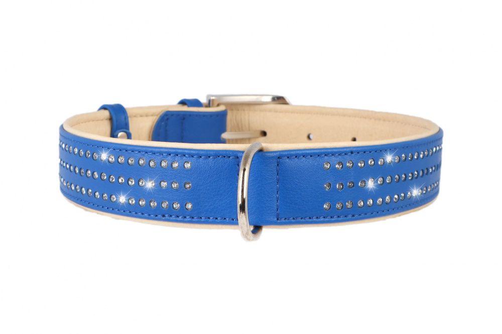Ошейник для собак COLLAR Brilliance со стразами маленькими ширина 15мм длина 27-36см синий podium ошейник со стразами