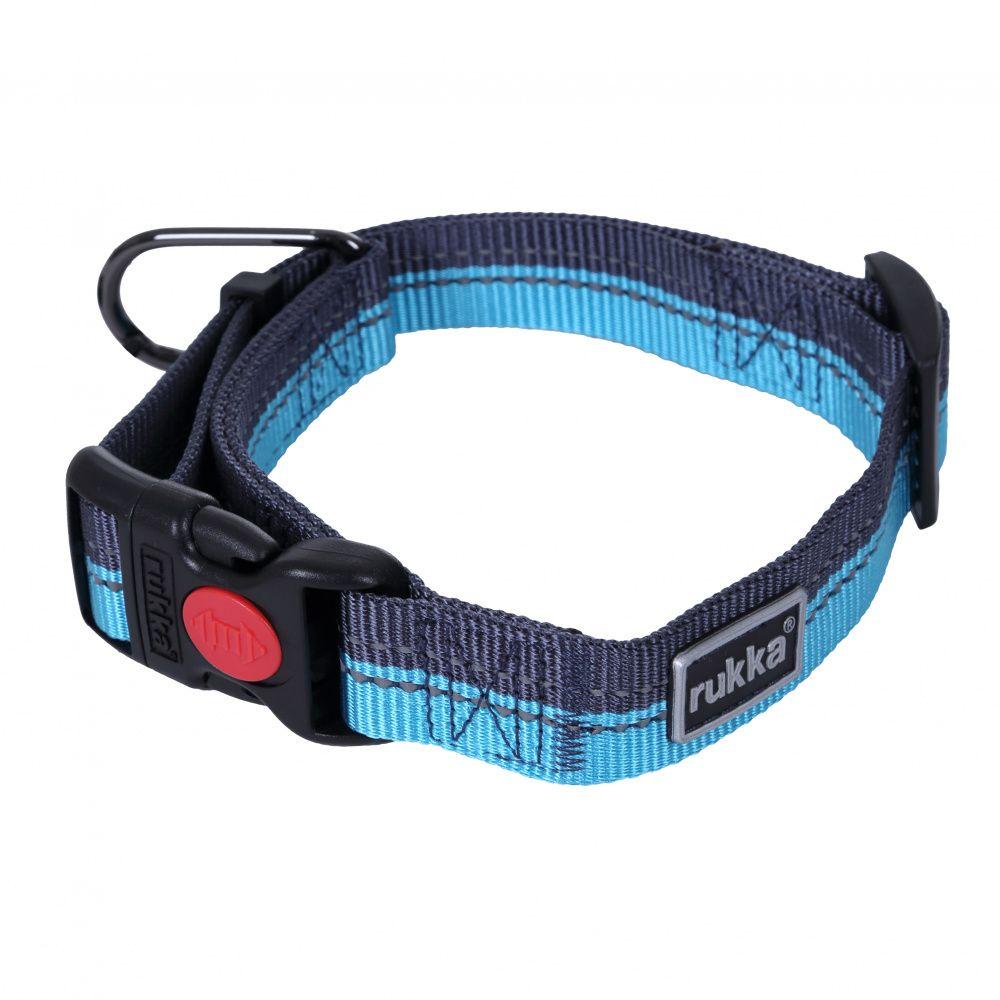 цена Ошейник для собак RUKKA Beam 30мм/45-70см синий онлайн в 2017 году