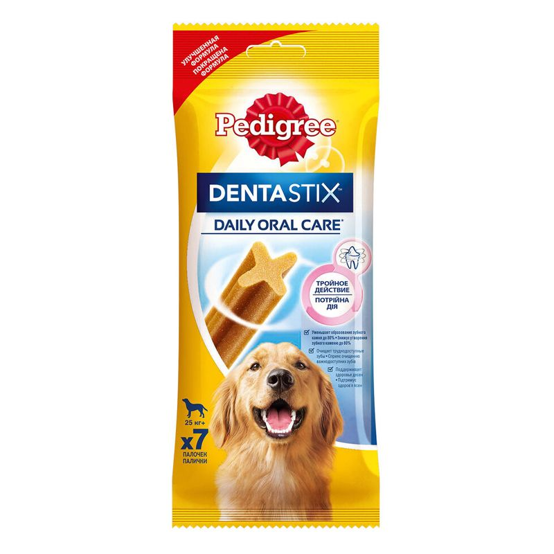 Лакомство для собак Pedigree Denta Stix Пластинки для снятия зубного камня у крупных собак 270г
