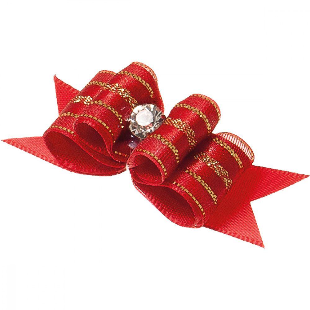 Бантик V.I.PET Ностальжи (пара) красный, тройной объёмный 5х1,6см