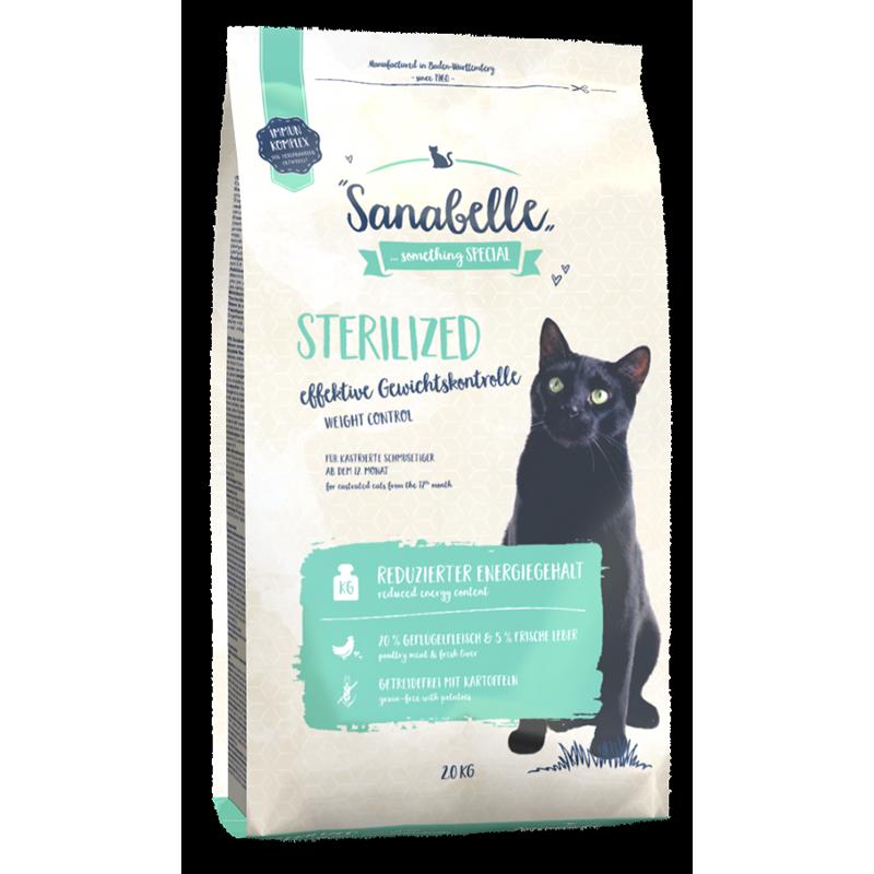 Корм для кошек SANABELLE Sterilized для кастрированных и стерилизованных кошек, птица сух. 2кг