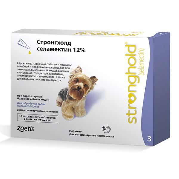 Капли для собак Zoetis Stronghold 2,6-5кг 30мг, 3 пипетки relaxivet relaxivet капли spot on успокоительные для кошек и собак 4 пипетки по 0 5 мл