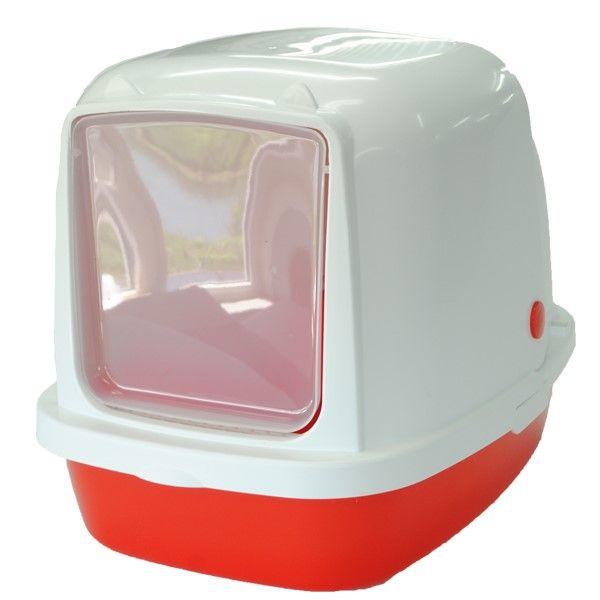 Туалет для кошек HOMECAT закрытый красный перламутр 53х39х48см