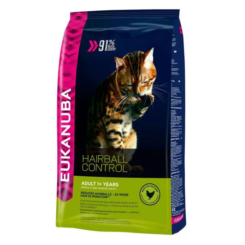 Корм для кошек Eukanuba Hairball для выведения шерсти из желудка, с домашней птицей сух. 2кг сухой корм eukanuba senior cat top condition rich in poultry с домашней птицей для кошек старше 7лет 2кг